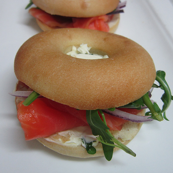 Mini cream cheese and salmon bagel at Third Place Cafe