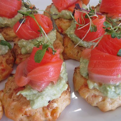 Avocado and salmon corn fritters at Third Place Cafe